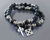 Cross beaded bracelet Men beaded bracelet Protection bracelet Hematite & matte black onyx bracelet Sterling silver Christian cross bracelets