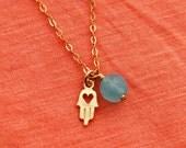 Hamsa necklace, tiny hamsa necklace, blue aqua chalcedony necklace, heart necklace, gold necklace, tiny charm necklace, gold charm necklace