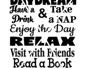 Porch Rules - Daydream Relax Have a Drink with Friends Read a Book SVG Wall Art Vector Design on Tile, Canvas, Print or Wood