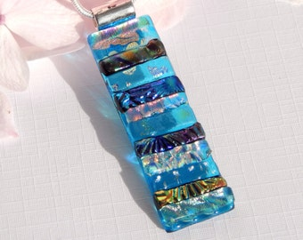Long Slim Dichroic Glass Pendant - Mixed Art Glass Necklace - Fused Glass Jewelry