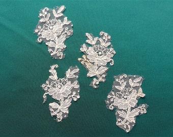 Point de Gaze lace fragments, 4, antique.  Floral pieces of Point de Gaze needle lace, good to use for lace study.  c1875.