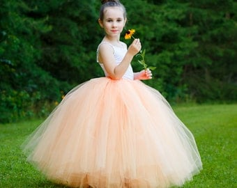 Full length peach tutu skirt. Long tutu.