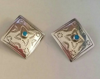 Vintage Sterling Southweat Earrings/Square with Turquoise center