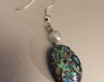 Wire Wrapped Abalone with Pearl Earrings