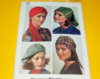 1973 Simplicity 5887 Uncut Turban, Beret and Scarf Hat Pattern