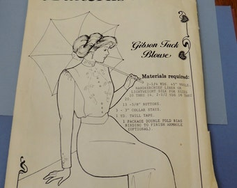 Gibson Tuck Blouse Past Patterns, size 10 to 20 Uncut