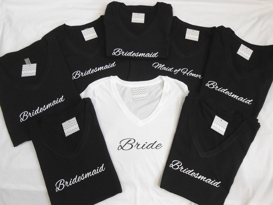 Wedding Bridesmaid T Shirts bridesmaid t shirt etsy set of 8 bridal shirts bachelorette party shirts