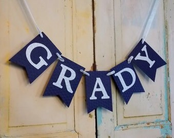 Boy's Name Banner, Embossed Banner in Light and Navy Blue, Birthday Banner, Nursery Banner, Baby Shower Banner