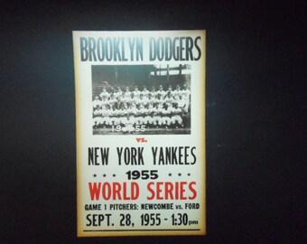 "Brooklyn Dodgers vs. New York Yankees 1955 Print Poster Reproduction Baseball Fan Wall Art Nice Color  22"" x 14"" World Series Sports Decor"