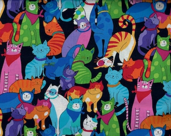 Happy Colorful Cats fabric - black blue green aqua red orange yellow purple pink - Timeless Treasure - by the YARD