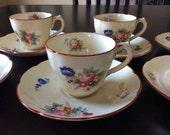 Reserved for LORRAINE Vintage Coalport Kingsware Demistasse cup and saucer set of 6
