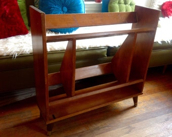 Vtg Mid Century Modern Wood Bookcase Shelf bookshelf book case