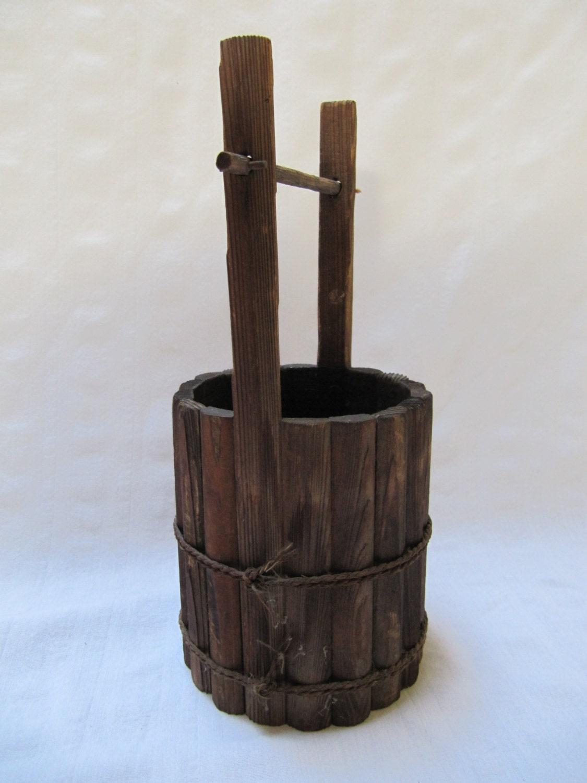 Vintage Japan Wood Bucket Ikebana Honey Water Bucket