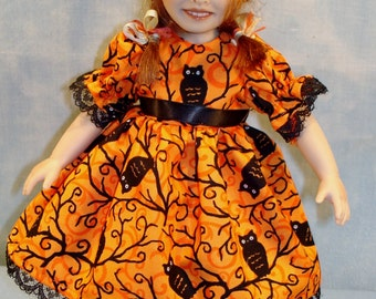 10 Inch Doll Clothes - Owls on Orange Halloween Dress Handmade by Jane Ellen to fit 10 inch dolls