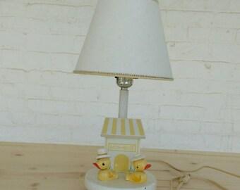 Vintage Nursery Lamp Yellow Ducks