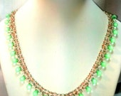 Wedding Jewelry for Brides - Green and Pink Bead Weaving Jewelry - Right Angle Weave Bead Neckace Jewelry