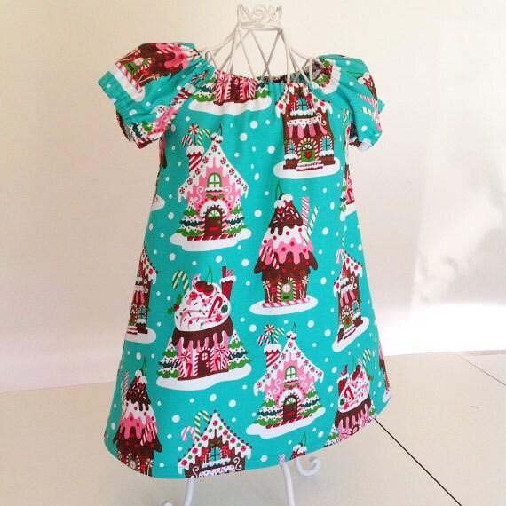 Christmas toddler dress holiday gingerbread house little girls