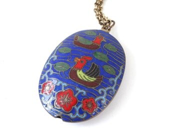 Antique Cloisonne Bird Necklace Pendant Blue Red Enamel Duck Flowers on 14K Gold Filled Wells Chain Asian Chinese Jewelry