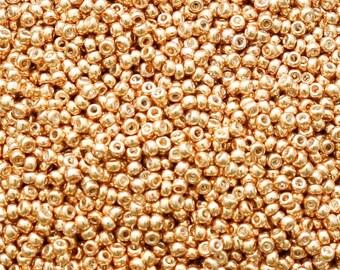 15/0 Galvanized Gold Miyuki Seed Beads - 2870 - Miyuki # 1052 - 5 Grams Miyuki 15/0 Galvanized Gold Seed Beads, 15-1052, Metallic Gold