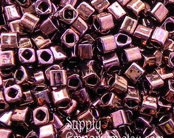 Toho Olympic Bronze 3mm Cube Beads - 3x3mm - 1725 -Toho Glass Square Beads - 15 grams - color 224