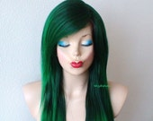 Green wig. Scene wig. Irish green long straight hair style wig. Durable Heat resistant black hair wig for daily use or cosplay