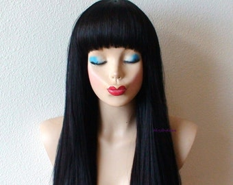Black wig. Long straight hair with straight across bangs wig. Durable heat friendly synthetic wig for daily use or Cosplay.
