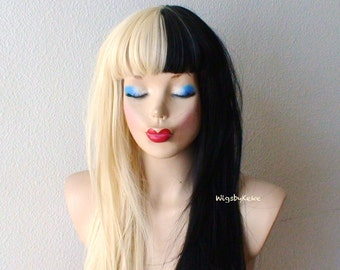 Blonde/Black wig. Blonde / Black side by side Long straight blonde/ black hair Durable heat resistant wig for daily use or Cosplay.