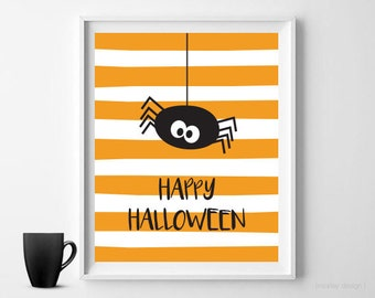 Halloween Wall Art Halloween Print Orange Stripes Spider Happy Halloween Art Digital Print Instant Download Halloween Decor Halloween Poster