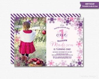 Onederland Invitation Onederland Birthday First Birthday Invite 1st Birthday Invitation Girls Birthday Winter Birthday Snowflakes Invitation
