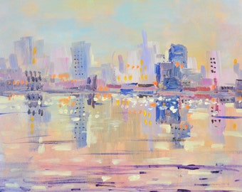 Abstract city painting, New York city, original landscape, lavender painting skyscrapers 10 X 10 acrylic