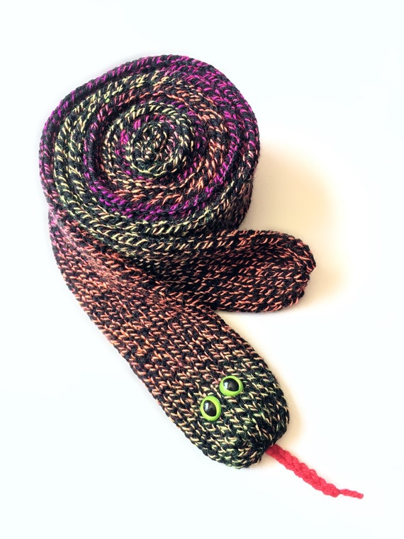 Knitting Pattern For Snake Scarf : Knit Scarf Knit Snake Scarf Soft Knit Scarf Soft Knit