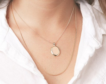 Gold layering necklace delicate set of two light pink pendant everyday chain necklace 24k gold plated chain jewelry.