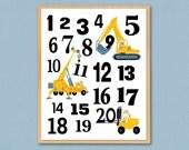 "Kids Numbers Construction Wooden Art Plaque 8""x 10"" Boy's Room Decor Kids Playroom Nursery Wall Art Home Decor Birthday Keepsake Gift"