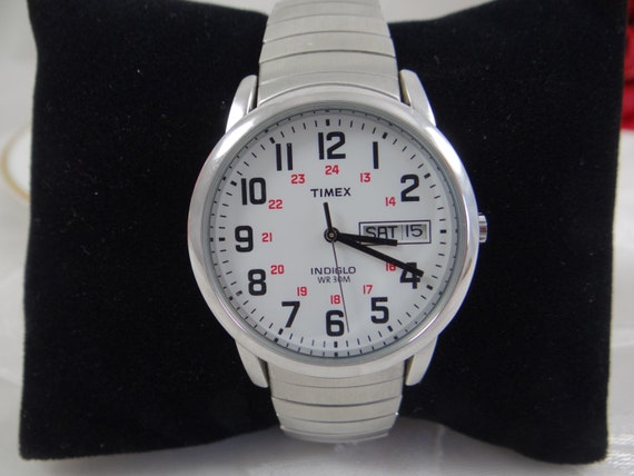 working vintage retro timex indiglo mens stretch band