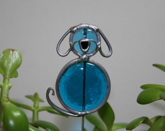 Stained Glass Dog Plant Stake, Ocean Blue Dog Garden Art