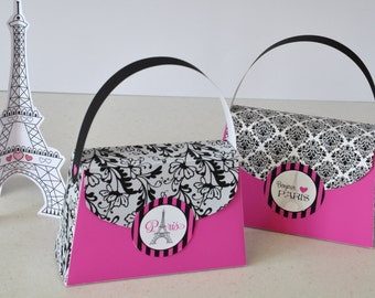 Paris Party Purse Favor box in hot pink with black & white lace damask - pdf printable TEXT EDITABLE bag for spa party, sleepover, birthday