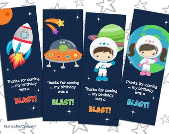 Space Rocket party pdf printable outer space thank you card / bookmark favor tag with astronaut, spaceship, alien ship, planets