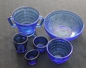 vintage 5 cobalt blue depression glass dishes eye glass