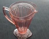 vintage pink depression glass pitcher Adam pattern