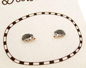 Super Tiny Hedgehog Shrink Plastic Stud Earrings