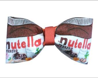 Nutella Jar Inspired Hair Bow or Bow Tie Chocolate Hazelnut Spread Yummy Fabric Bow
