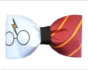 Harry Potter Glasses Inspired Gryffindor Hair Bow or Bow Tie Geeky Fabric Bow
