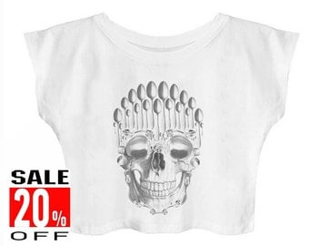 Spoon Skull shirt art shirt women shirt crop top cropped shirt size S