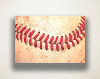 Baseball Stitch Canvas Art, Baseball Wall Art, Sport Canvas Print, Close Up Wall Art, Photograph, Canvas Print, Home Art, Wall Art Canvas