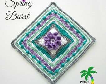 Crochet Pattern Afghan Square Spring Burst  PDF 15-179 INSTANT DOWNLOAD