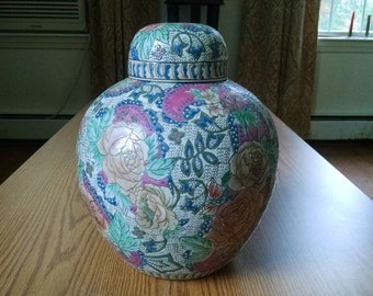 Chinese Ginger Jar Pottery, Rose Pattern