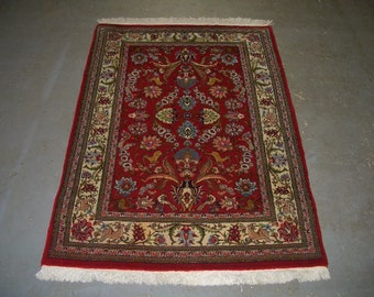 1970s Hand-Knotted Qum Persian Rug (3216)