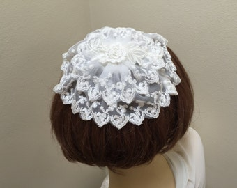 White Lace Chapel Cap, Lace Head Covering, Lace Church Hat, Ivory Lace Doily