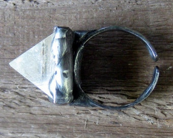 Quartz Crystal Pyramid Ring Statement Ring Bohemian Jewelry