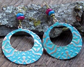 Round Hoop Earrings Hand Stamped Purple Turquoise Bohemian Jewelry